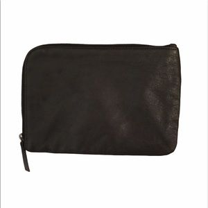 Eileen Fisher flannel lined leather pouch
